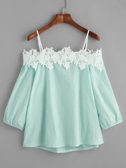 Light Green Open Shoulder Appliques Top