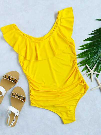 Bañador con detalle de volantes una pieza - amarillo