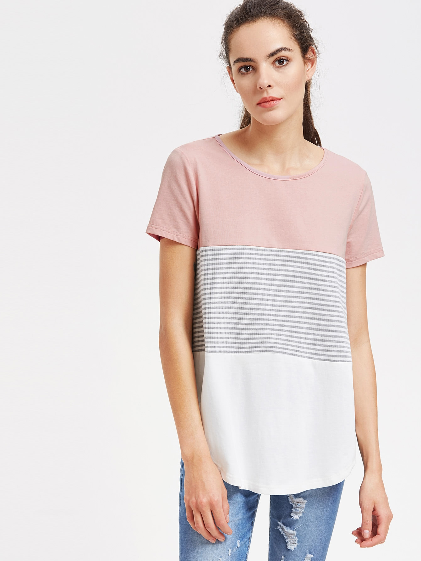 цены Striped Cut And Sew Curved Hem Tee