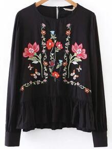 Flower Embroidery Ruffle Hem Blouse