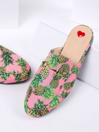 Pink Pineapple Print Flat Slippers