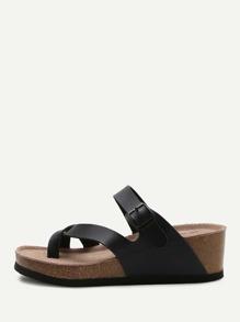 Sandalias de cuña - negro