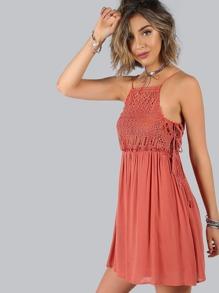 Crochet Lace Up Dress BRICK