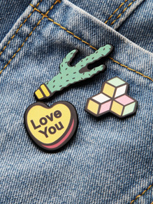 Cactus And Heart Shaped Pin Set