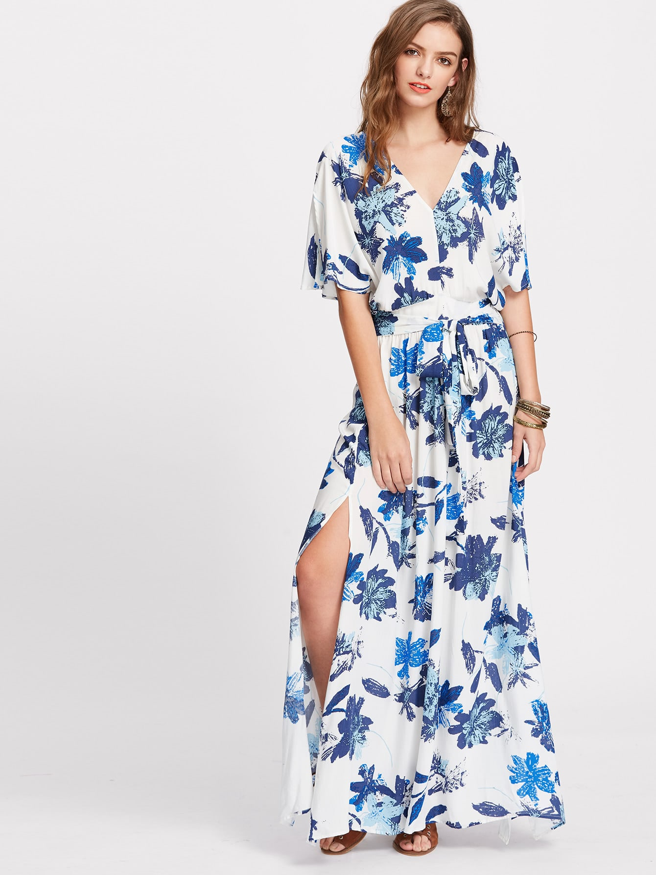Фото Floral Flutter Sleeve Self Tie Side Slit Kimono Dress. Купить с доставкой
