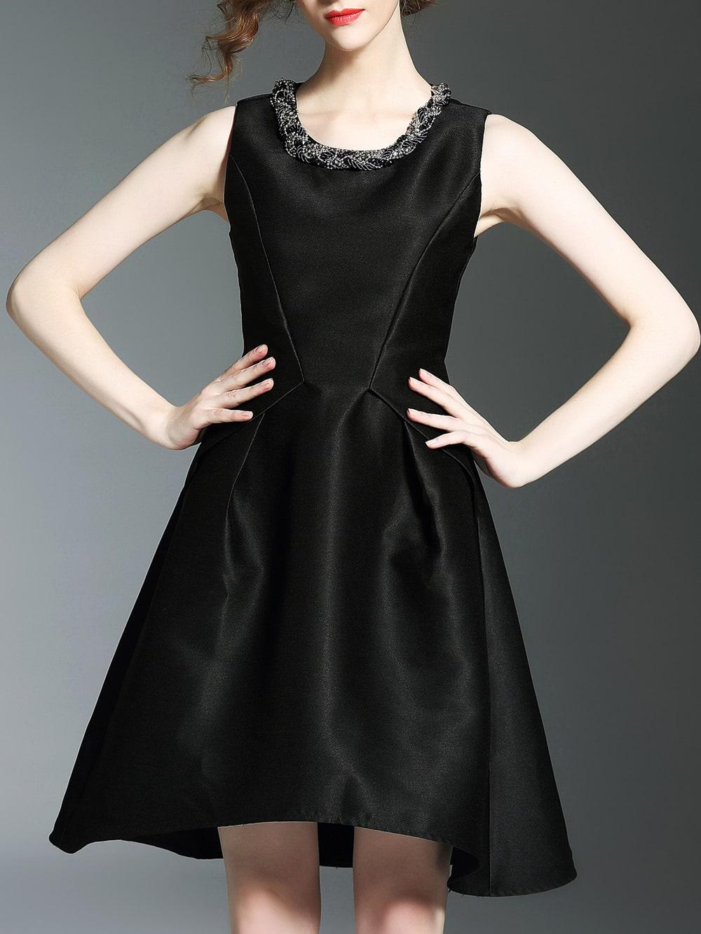 Фото Black Crew Neck Beading High Low Dress. Купить с доставкой