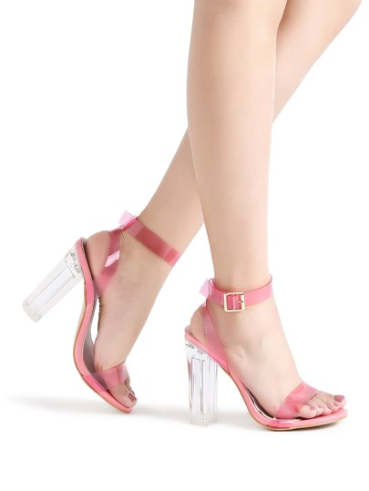 Pink Ankle Strap Chunky Heeled Clear Sandals