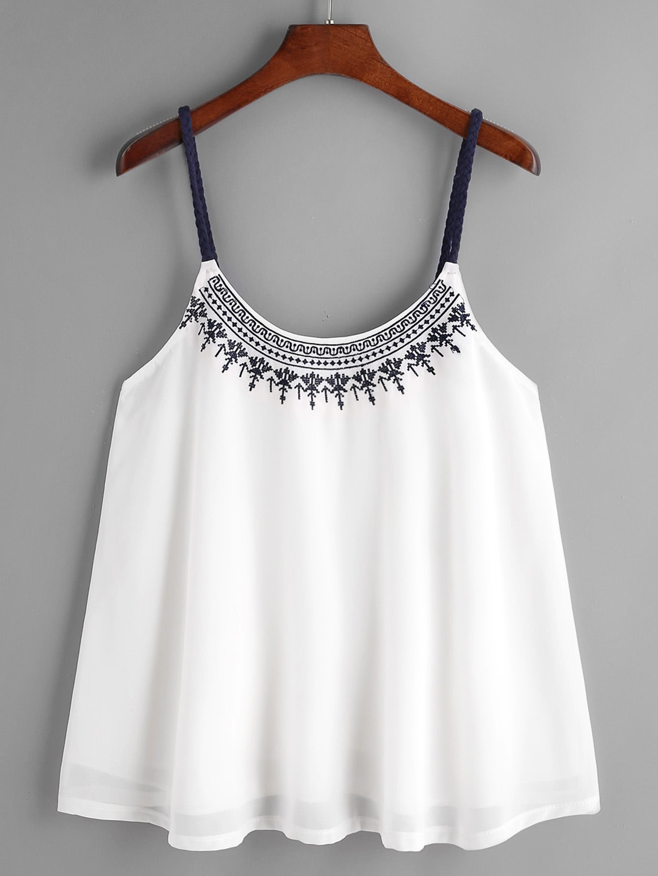 Embroidered Contrast Braided Strap Pleated Cami Top vest170317003