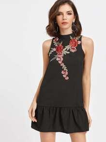 Black Open Back Applique Ruffle Hem Dress