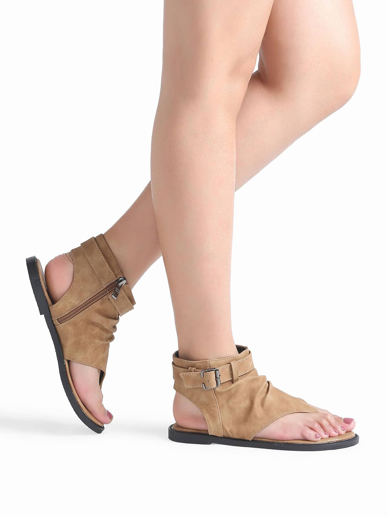 Brown Toe Post Buckle Detail Flat Shoes