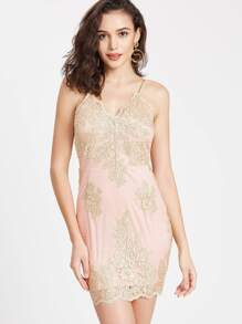 Spaghetti Strap Embroidered Mesh Overlay Dress