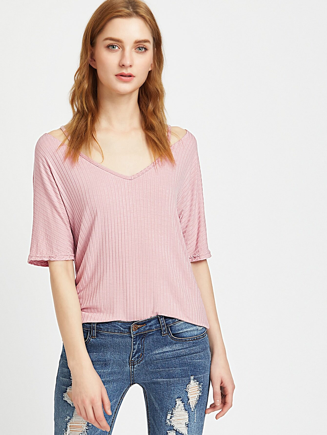 Strappy V Neck Ribbed Knit Tee tee170327451