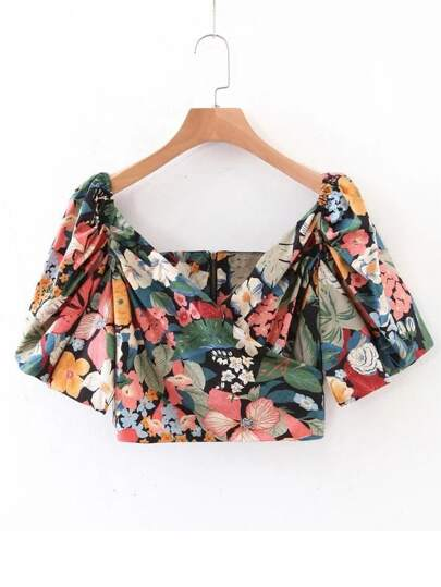 Floral Print Wrap Front Crop Top
