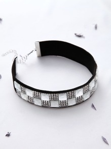 Rhinestone Checker Pattern Choker