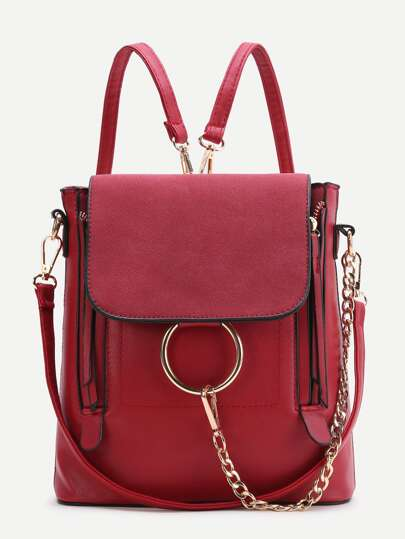Zaino Anello Red Design PU Con Convertible Strap