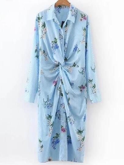 Vestido camisero floral de rayas verticales - azul