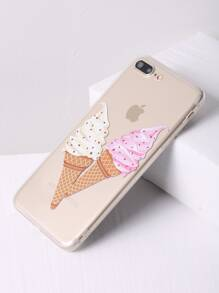 Double Ice Cream Print Clear iPhone 7 Plus Case