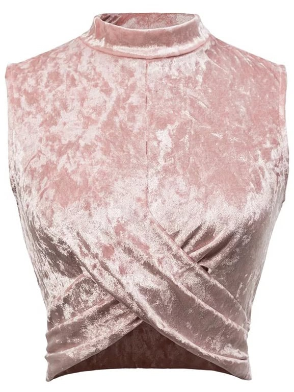 Pink Overlap Front Sleeveless Velvet Top blouse170302203