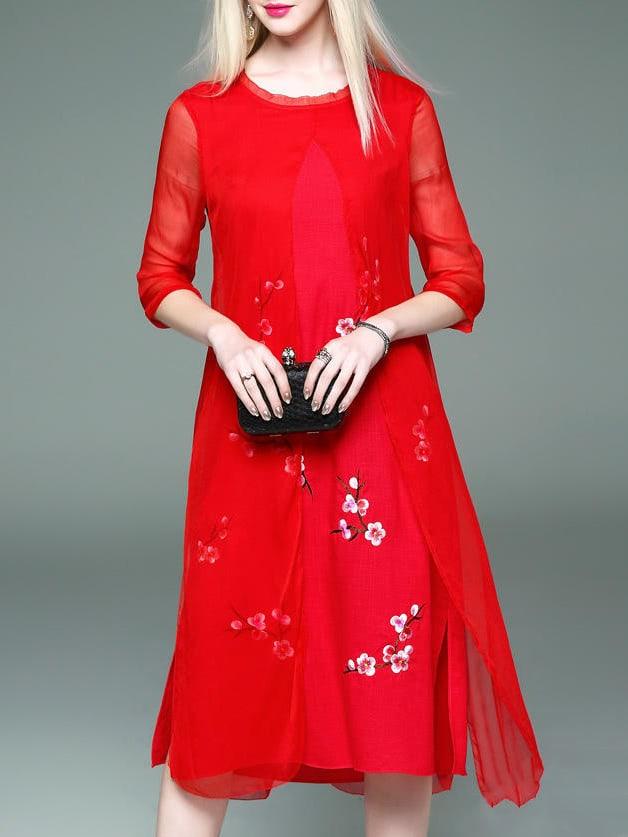 Фото Red Flowers Embroidered Shift Sheer Dress. Купить с доставкой