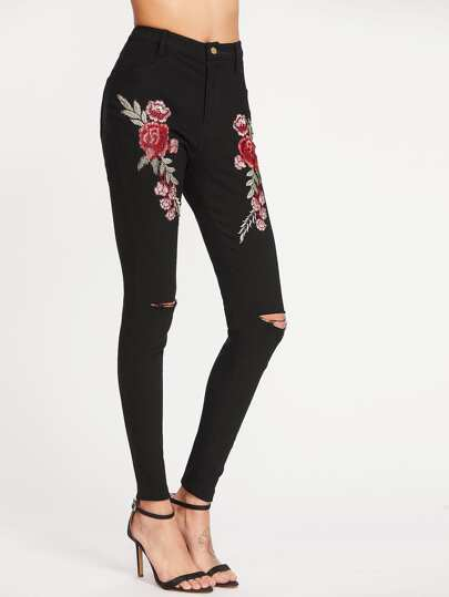 Rose Applique Knee Ripped Skinny Pants