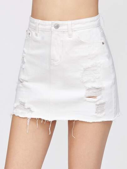 Distressed Fray Hem Denim Skirt