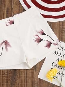 Flower Print Zip Back Shorts