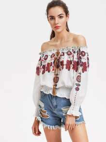 Flower Print Tasseled Drawstring Shirred Bardot Top