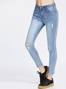 Skinny jeans déchirés - bleu