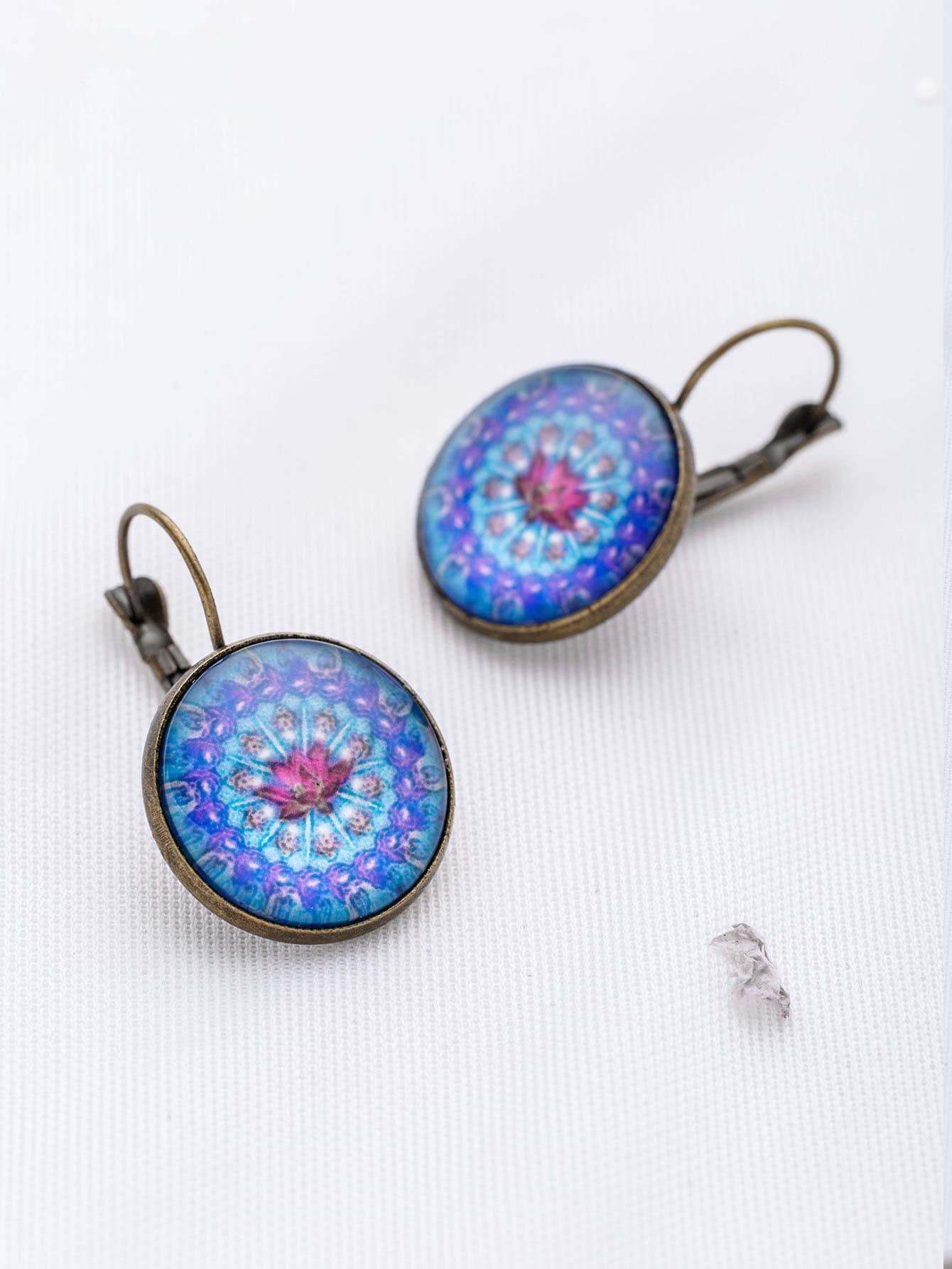 Фото Blue Flower Pattern Hoop Earrings. Купить с доставкой