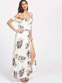 Weiße Blumen Kalt Schulter Rüsche Trim Wrap Kleid
