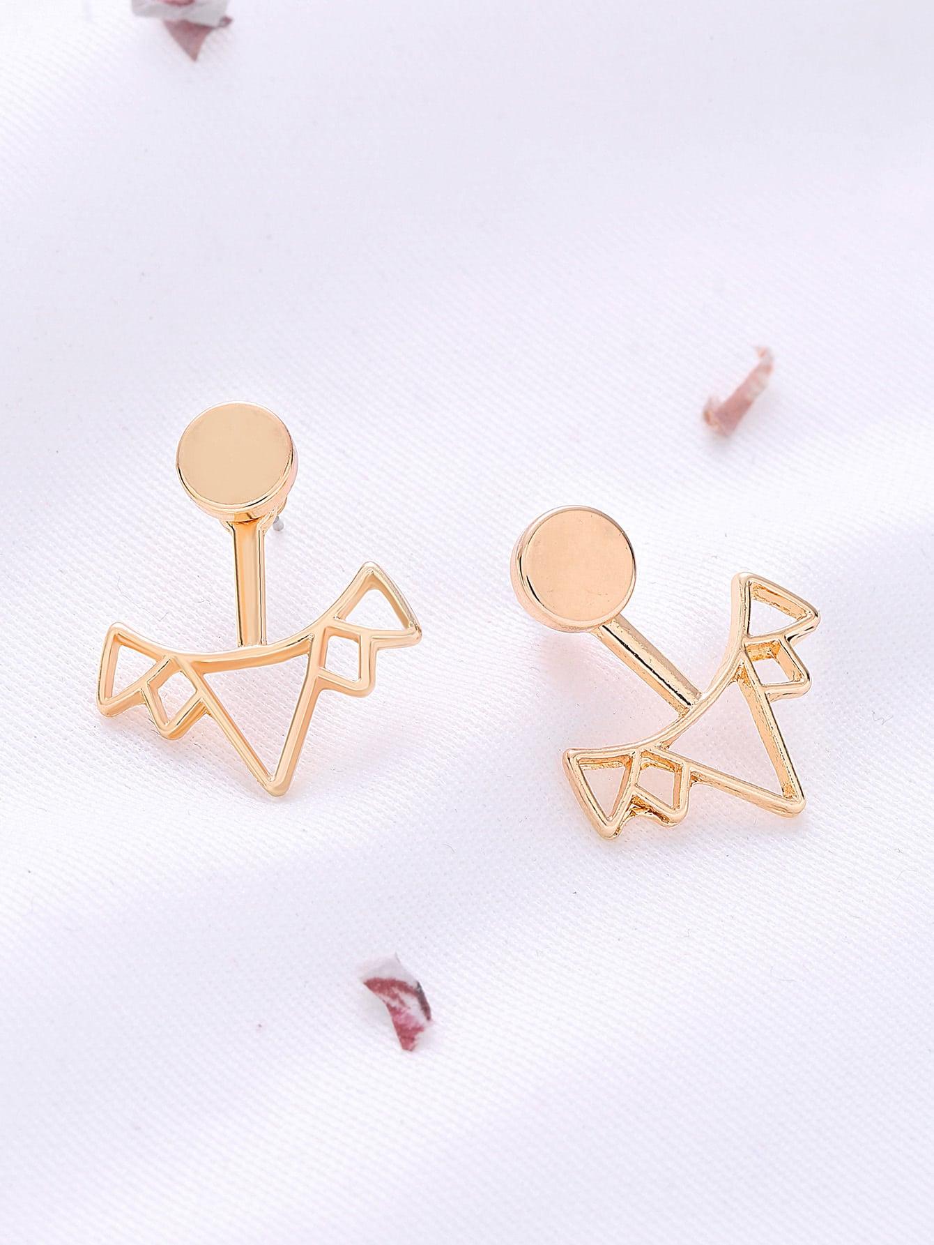 Фото Gold Crown Hollow Out Stud Earrings. Купить с доставкой