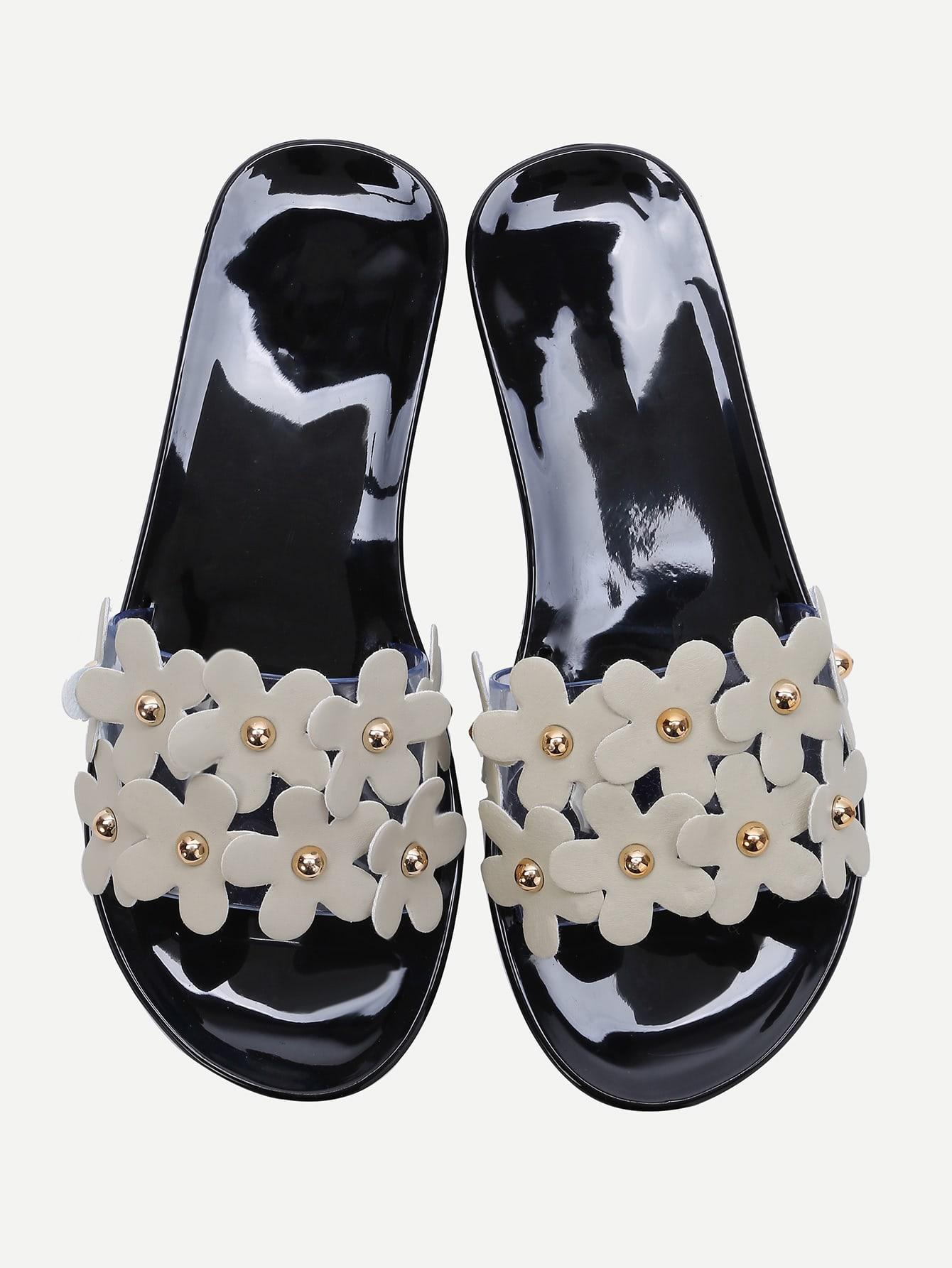 Image of Black Flower Embellished Slide Flat Sandals