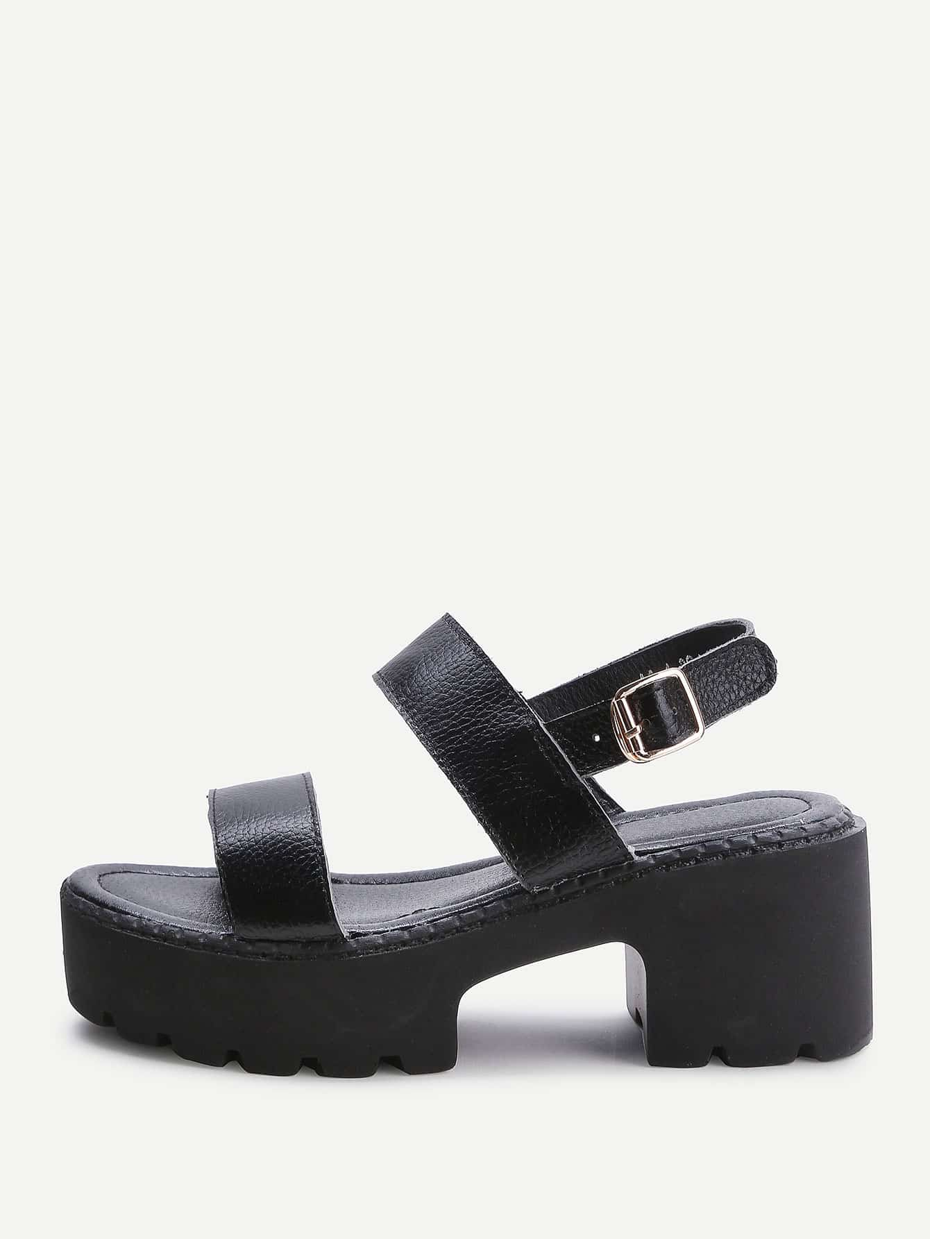 Фото Black Strappy Platform PU Sandals. Купить с доставкой