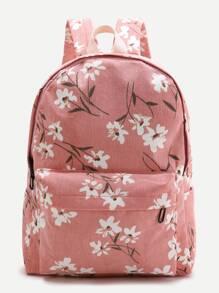 Pink Flower Print Canvas Backpack