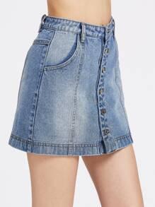 Bleach Wash Button Up Paneled Denim Skirt