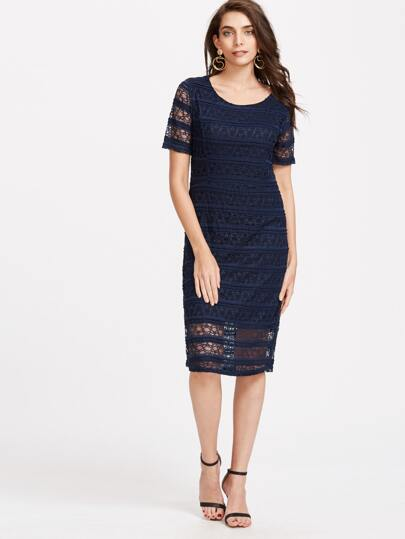Navy Crochet Lace Overlay Sheath Dress