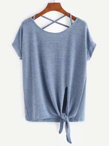 Blue Criss Cross Back Knotted Hem T-shirt