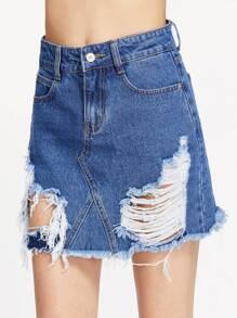 Falda en denim línea A con rotura - azul