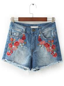 Shorts con bordado de flor en denim - azul