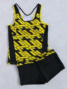 Black Print Racer Back Two-Piece Swimwear