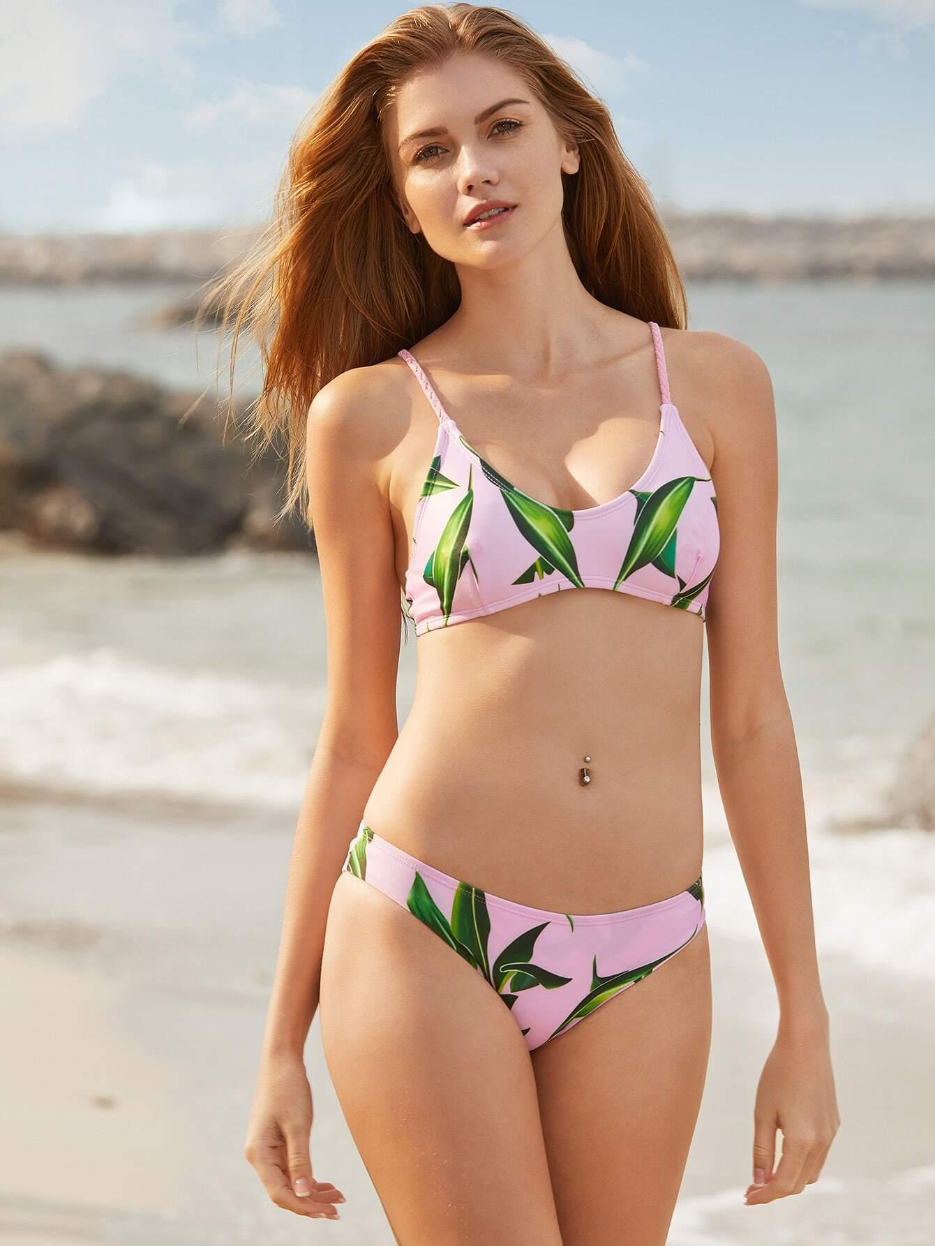 Фото Pink Leaf Print Braided Detail Bikini Set. Купить с доставкой