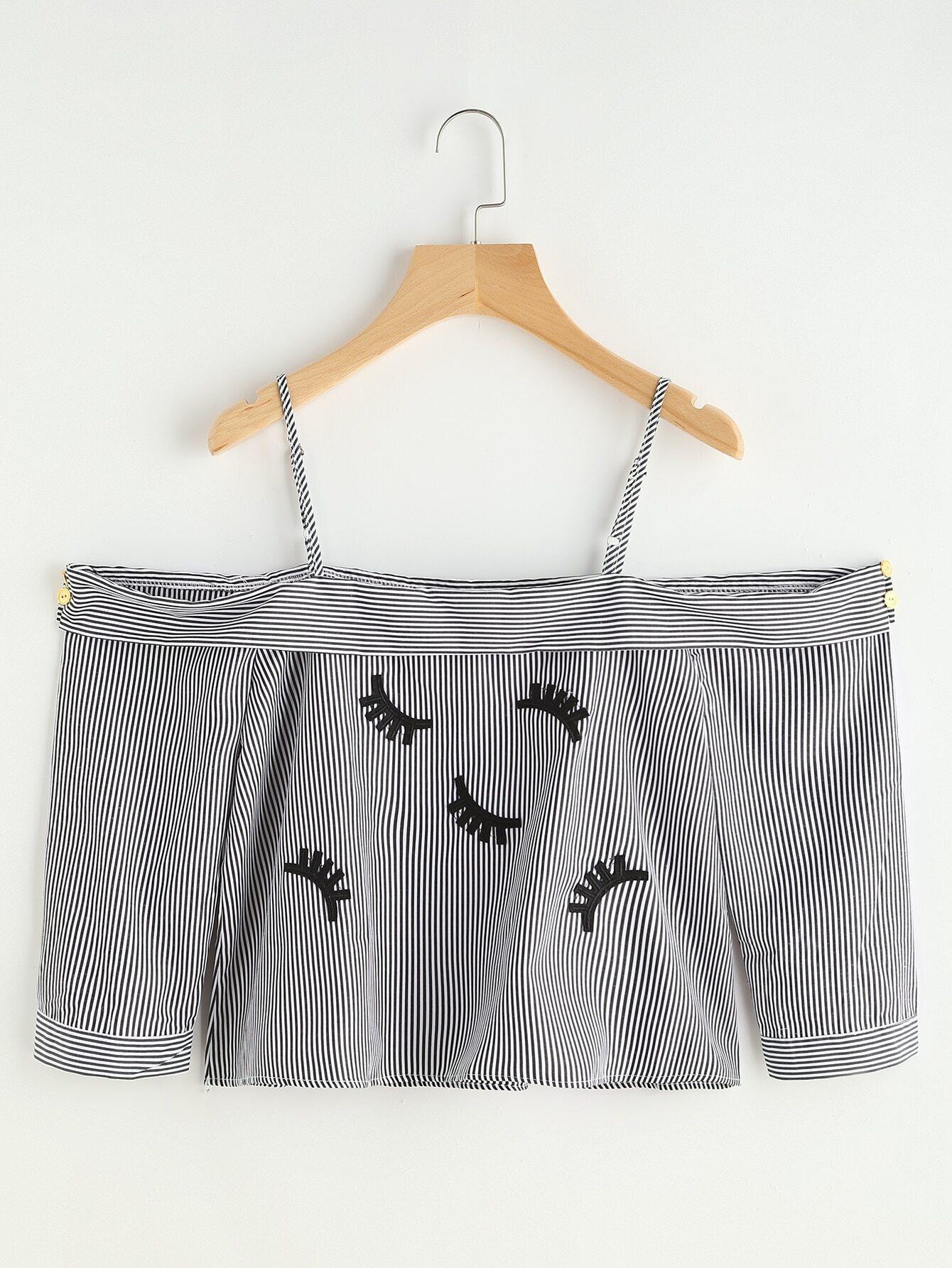 Cold Shoulder Eyelash Embroidery Crop Top blouse170330104