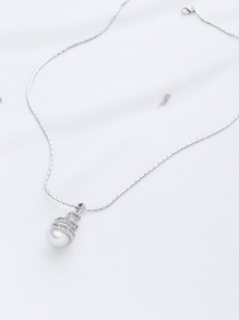Silver Rope Chain Neckalce With Pearl Pendant