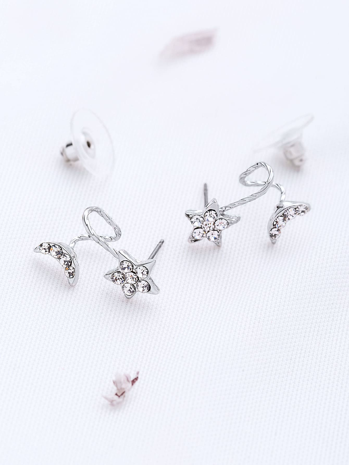 Фото Silver Star And Moon Shaped Stud Earrings. Купить с доставкой