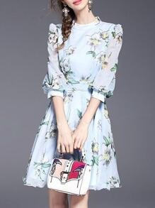 Blue Flowers Print A-line Dress