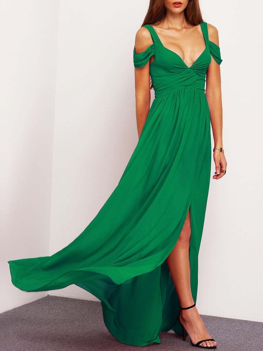 Фото Drape Cold Shoulder Ruched Waist Slit Dress. Купить с доставкой