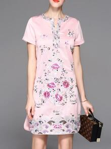 Pink V Neck Flowers Embroidered Sheath Dress