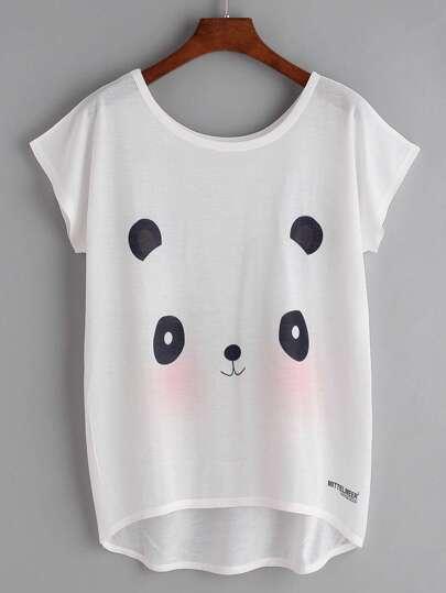 White Panda Print Dolman Sleeve Dip Hem T-shirt