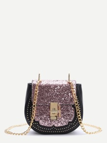 Pink Sequin Saddle Bag With Chain