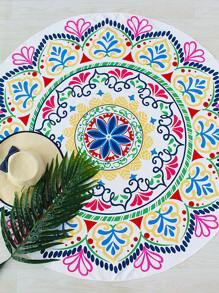 Multicolor Floral Print Round Beach Blanket